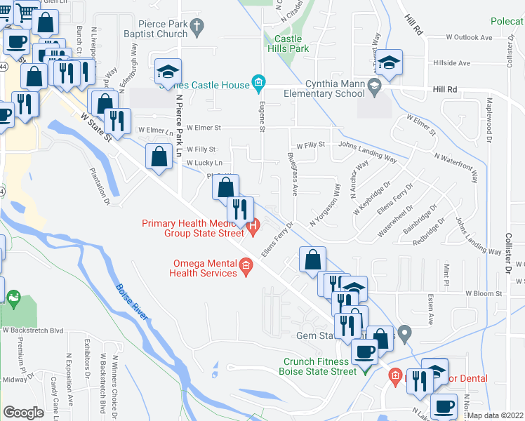 map of restaurants, bars, coffee shops, grocery stores, and more near 5988 West Port Place in Boise