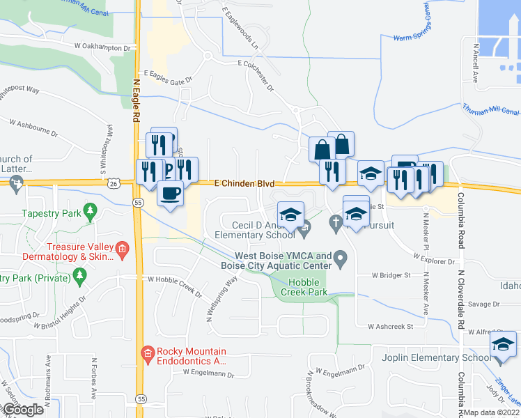 map of restaurants, bars, coffee shops, grocery stores, and more near in Boise