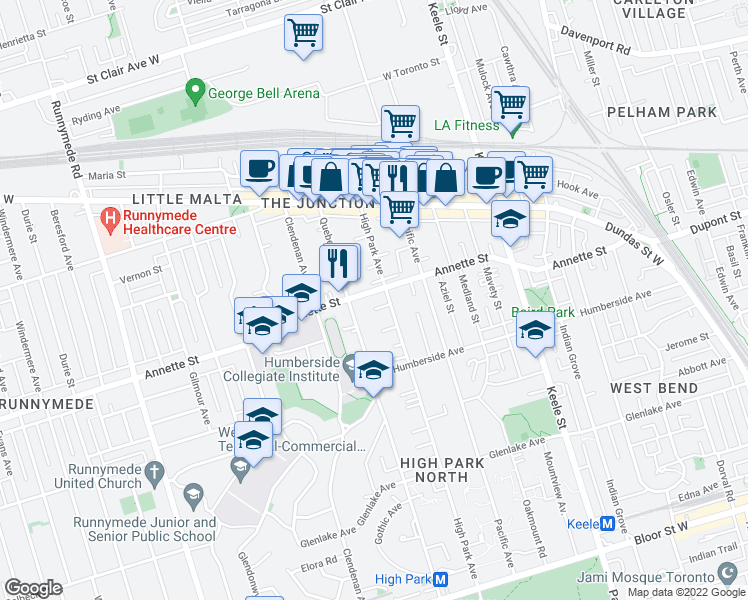 map of restaurants, bars, coffee shops, grocery stores, and more near 260 High Park Avenue in Toronto