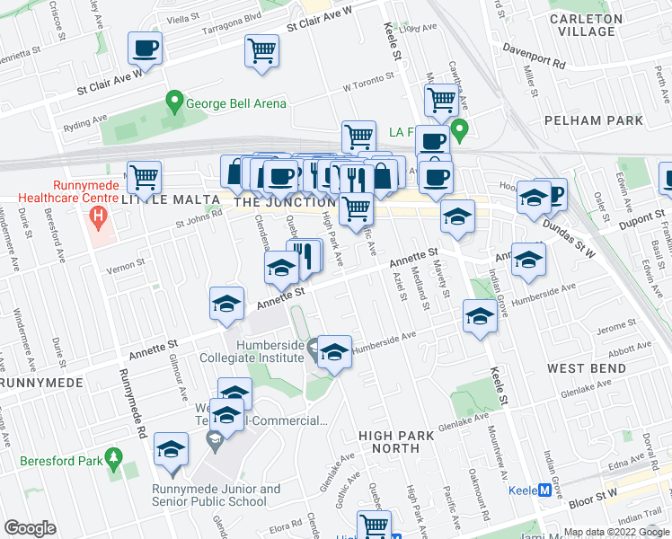map of restaurants, bars, coffee shops, grocery stores, and more near 272 High Park Avenue in Toronto