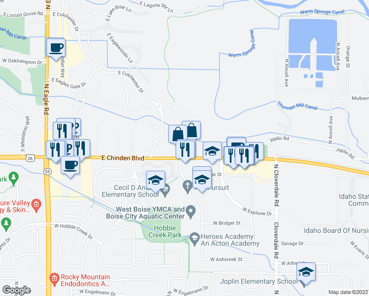 map of restaurants, bars, coffee shops, grocery stores, and more near 4150 East Chinden Boulevard in Eagle