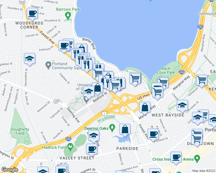 map of restaurants, bars, coffee shops, grocery stores, and more near 335 Forest Avenue in Portland