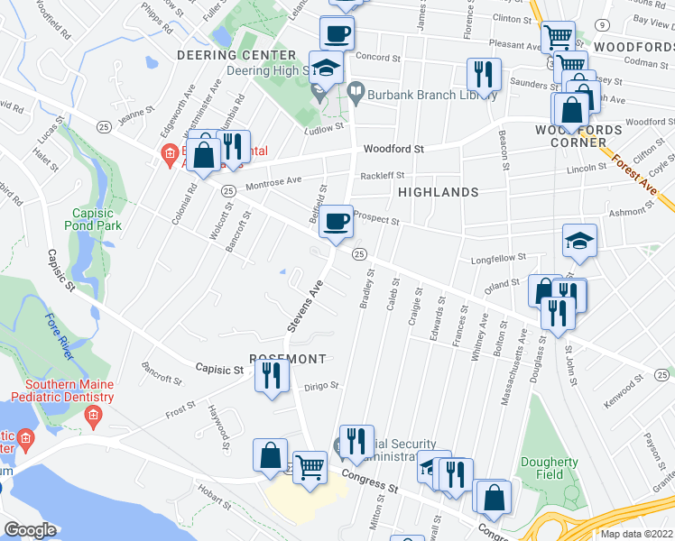 map of restaurants, bars, coffee shops, grocery stores, and more near Ivy Street in Portland
