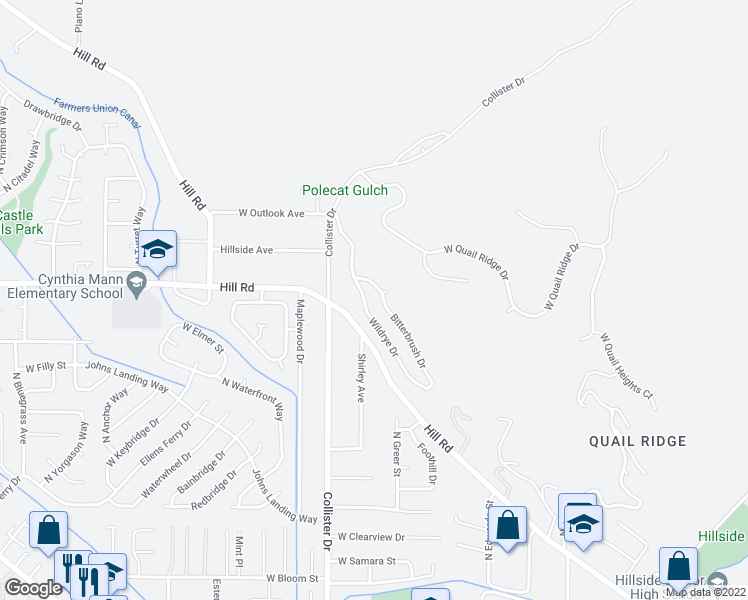 map of restaurants, bars, coffee shops, grocery stores, and more near 5050 Wildrye Drive in Boise