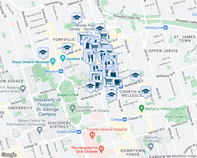 map of restaurants, bars, coffee shops, grocery stores, and more near 44 Saint Joseph Street in Toronto
