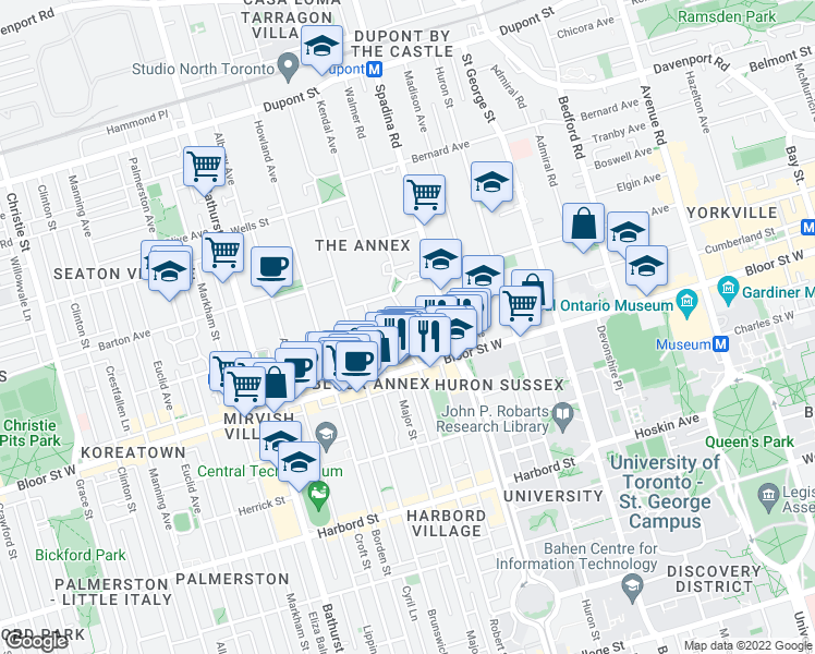 Map Of Restaurants Bars Coffee Shops Grocery Stores And More Near 20