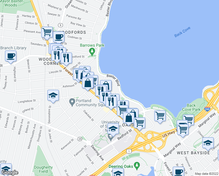 map of restaurants, bars, coffee shops, grocery stores, and more near 14 Dartmouth Street in Portland