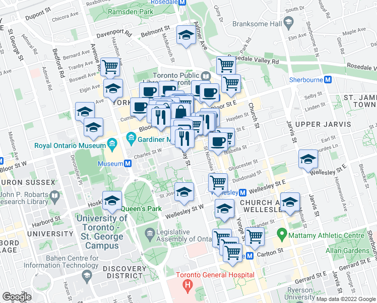 map of restaurants, bars, coffee shops, grocery stores, and more near 1101 Bay Street in Toronto