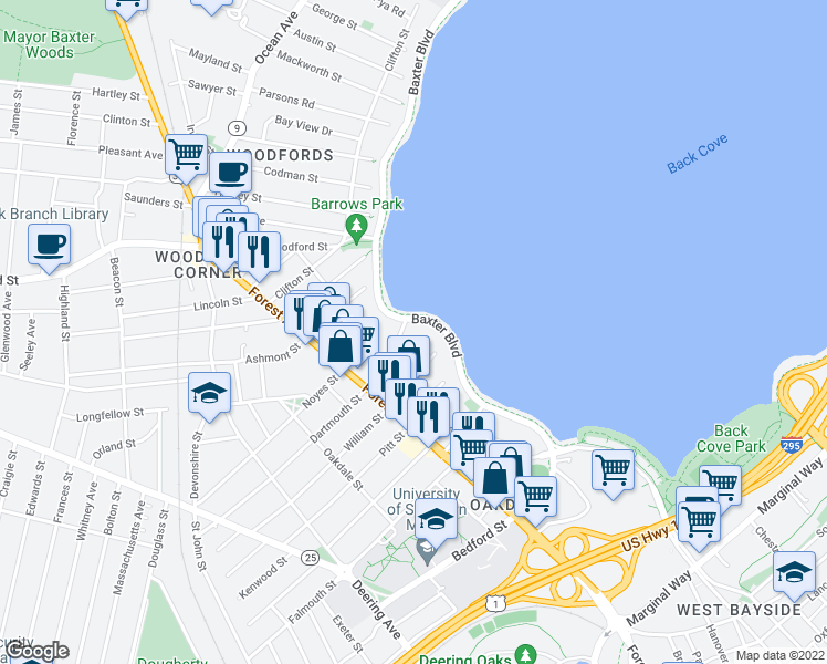 map of restaurants, bars, coffee shops, grocery stores, and more near 6 Dartmouth Street in Portland