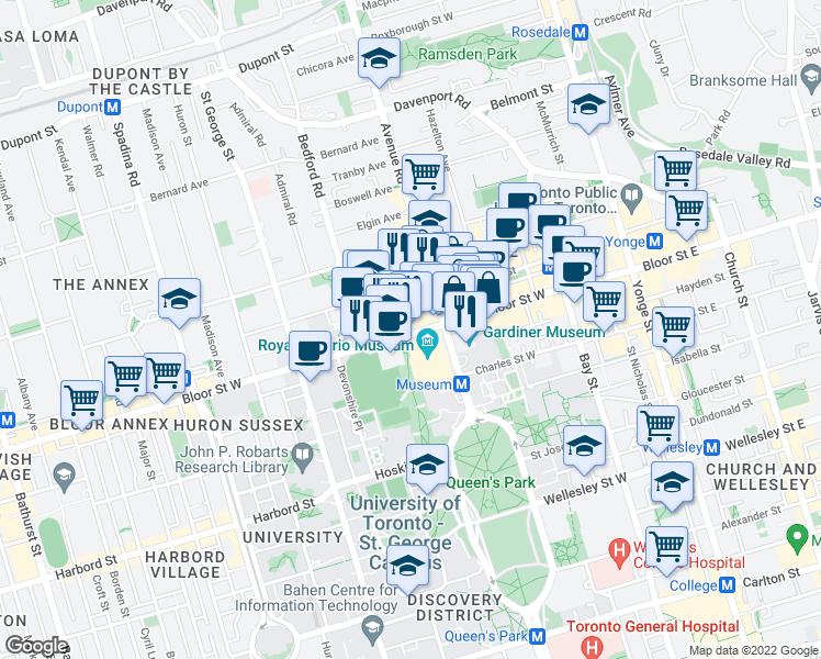 map of restaurants, bars, coffee shops, grocery stores, and more near 100 Queens Park in Toronto