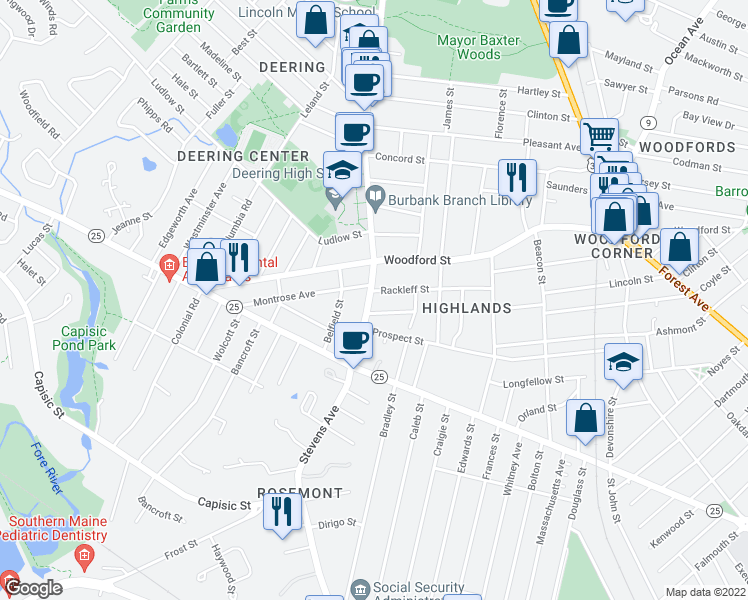 map of restaurants, bars, coffee shops, grocery stores, and more near 299 Stevens Avenue in Portland