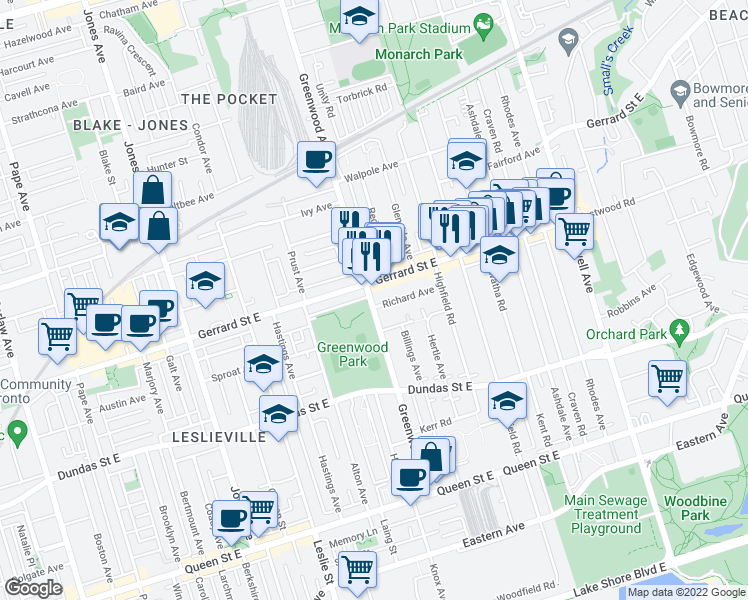 map of restaurants, bars, coffee shops, grocery stores, and more near 233 Greenwood Avenue in Toronto