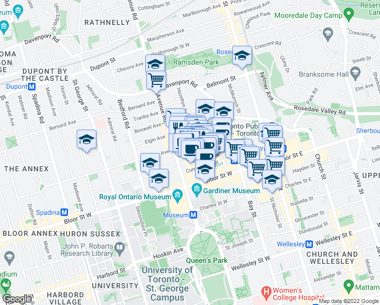 map of restaurants, bars, coffee shops, grocery stores, and more near 118 Yorkville Avenue in Toronto