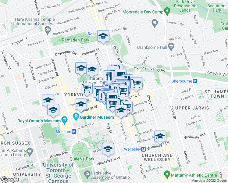 map of restaurants, bars, coffee shops, grocery stores, and more near 8 Cumberland Street in Toronto