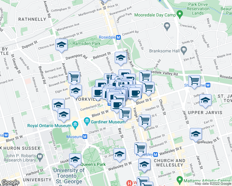 map of restaurants, bars, coffee shops, grocery stores, and more near 25 Yorkville Avenue in Toronto