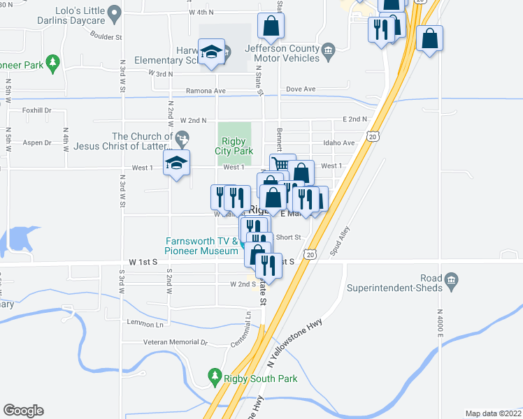 map of restaurants, bars, coffee shops, grocery stores, and more near 0 Idaho Avenue in Rigby