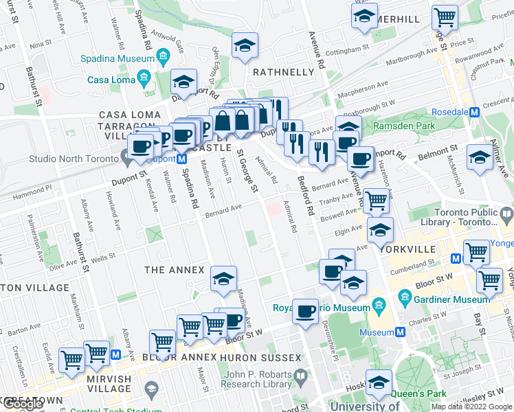 map of restaurants, bars, coffee shops, grocery stores, and more near 250 Saint George Street in Toronto