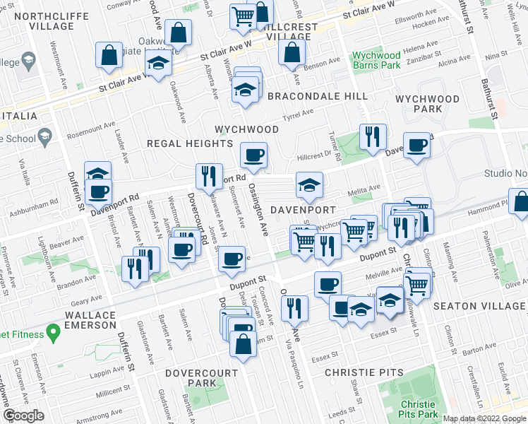 map of restaurants, bars, coffee shops, grocery stores, and more near 1169 Ossington Avenue in Toronto