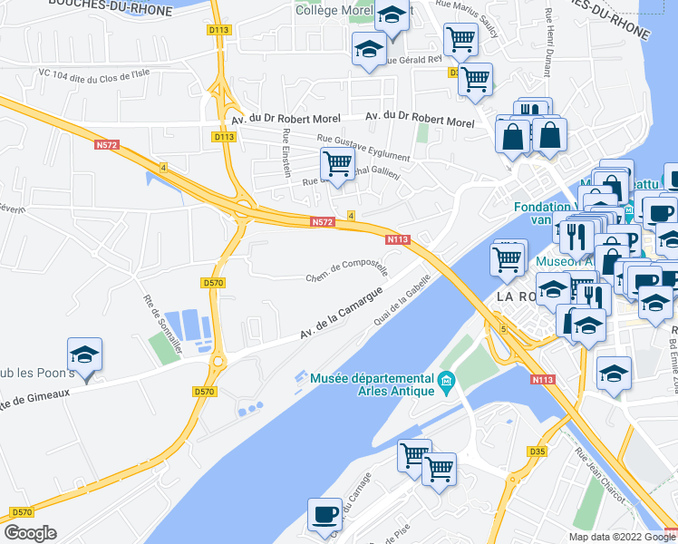 map of restaurants, bars, coffee shops, grocery stores, and more near in Arles