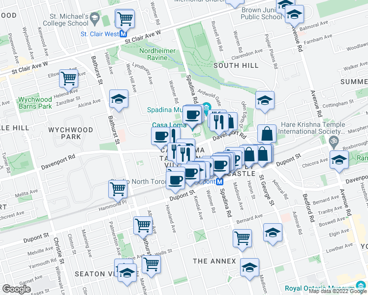 map of restaurants, bars, coffee shops, grocery stores, and more near 546-560 Davenport Road in Toronto