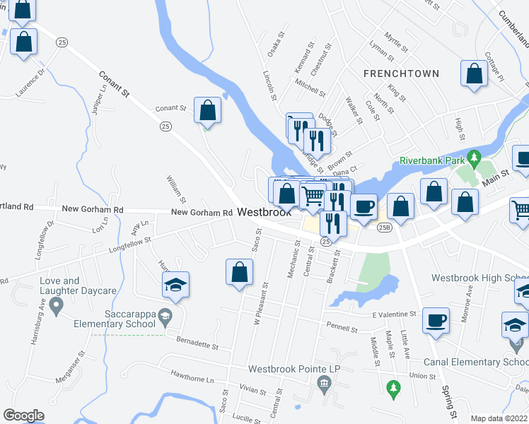 map of restaurants, bars, coffee shops, grocery stores, and more near 6 Saco Street in Westbrook