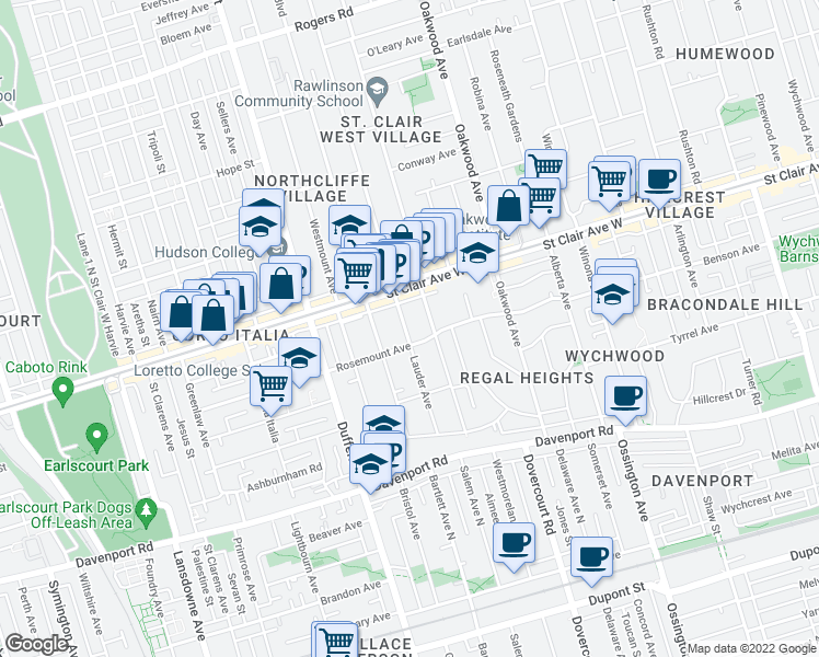 map of restaurants, bars, coffee shops, grocery stores, and more near 111 Lauder Avenue in Toronto