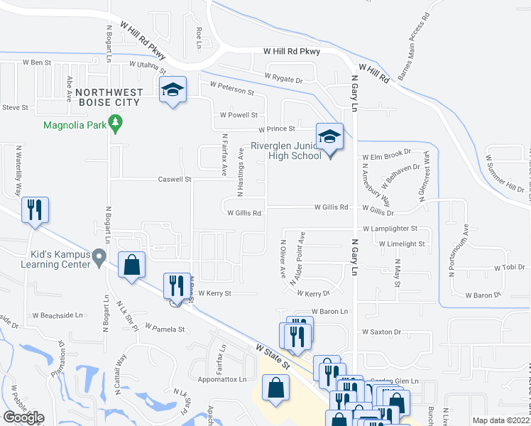 map of restaurants, bars, coffee shops, grocery stores, and more near 6272 North Prescott Avenue in Boise