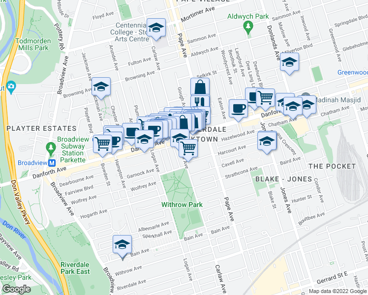 map of restaurants, bars, coffee shops, grocery stores, and more near 565 Danforth Avenue in Toronto