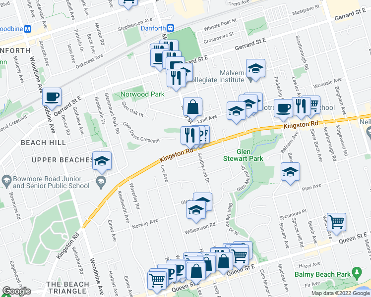 map of restaurants, bars, coffee shops, grocery stores, and more near 630 Kingston Road in Toronto
