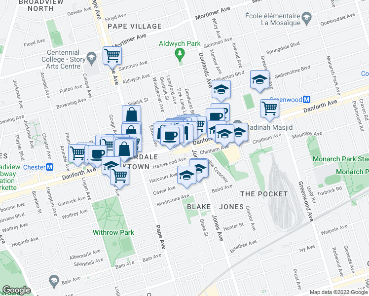 map of restaurants, bars, coffee shops, grocery stores, and more near 815 Danforth Avenue in Toronto