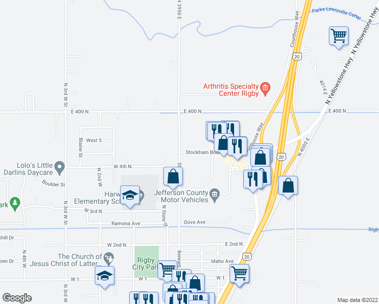 map of restaurants, bars, coffee shops, grocery stores, and more near 510 Annis Highway in Rigby
