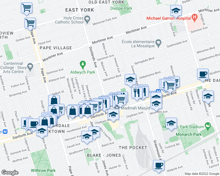 map of restaurants, bars, coffee shops, grocery stores, and more near 25 Glebeholme Boulevard in Toronto