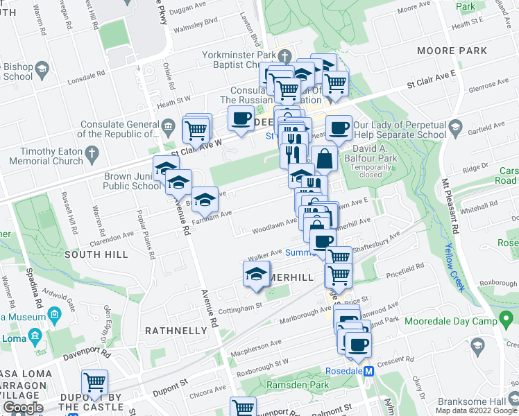 map of restaurants, bars, coffee shops, grocery stores, and more near 59 Farnham Avenue in Toronto