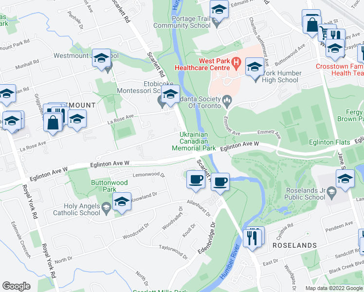 map of restaurants, bars, coffee shops, grocery stores, and more near 1 Richview Road in Toronto