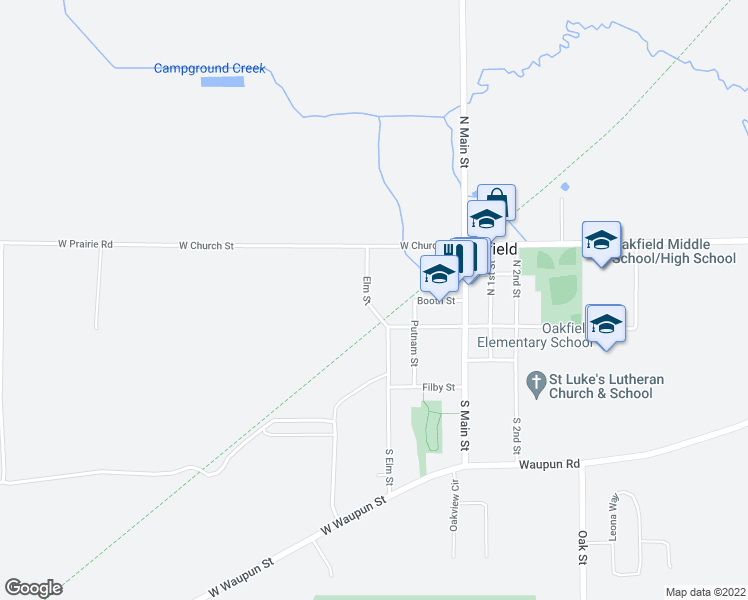 map of restaurants, bars, coffee shops, grocery stores, and more near 105 South Elm Street in Oakfield