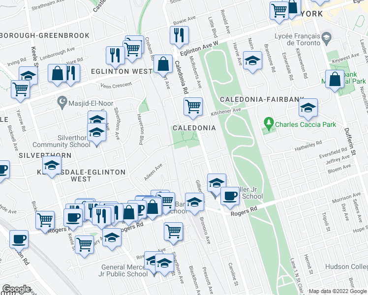 map of restaurants, bars, coffee shops, grocery stores, and more near 364 Gilbert Avenue in Toronto