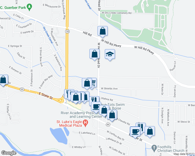 map of restaurants, bars, coffee shops, grocery stores, and more near 9535 West Arnold Road in Boise