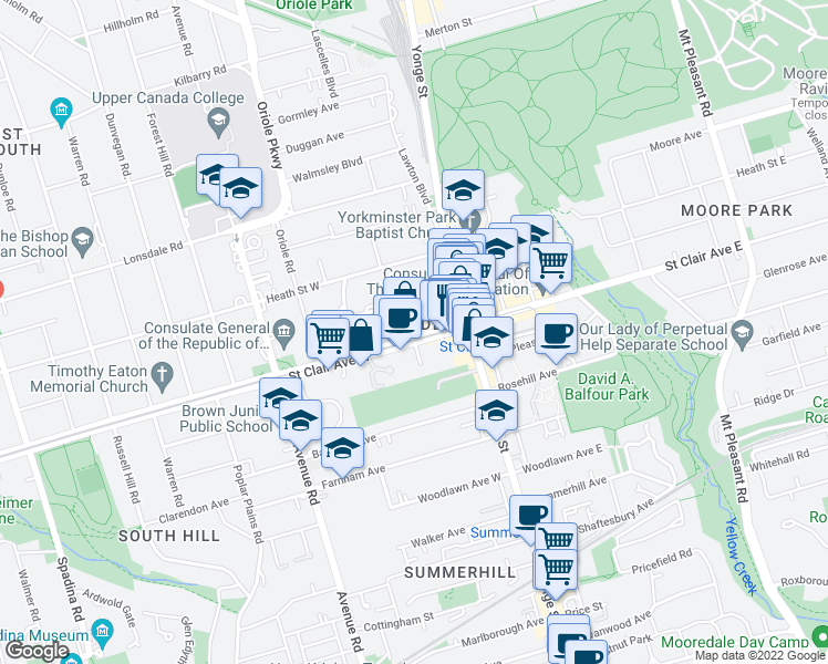 map of restaurants, bars, coffee shops, grocery stores, and more near 48 Saint Clair Avenue West in Toronto
