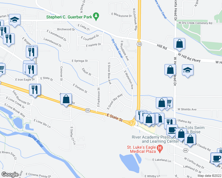 map of restaurants, bars, coffee shops, grocery stores, and more near 762 South Silver Bow Avenue in Eagle