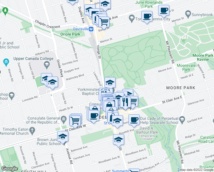 map of restaurants, bars, coffee shops, grocery stores, and more near 2 Glen Elm Avenue in Toronto