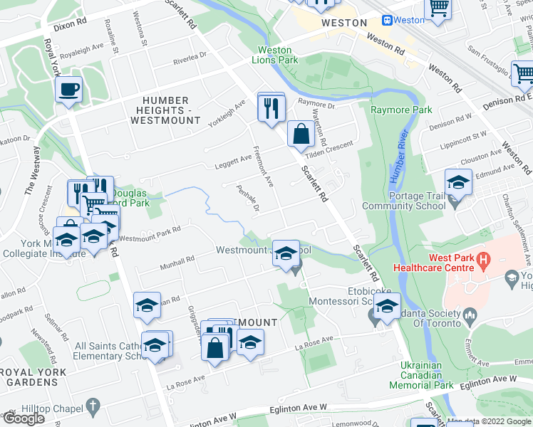 map of restaurants, bars, coffee shops, grocery stores, and more near 32 Alma Drive in Toronto