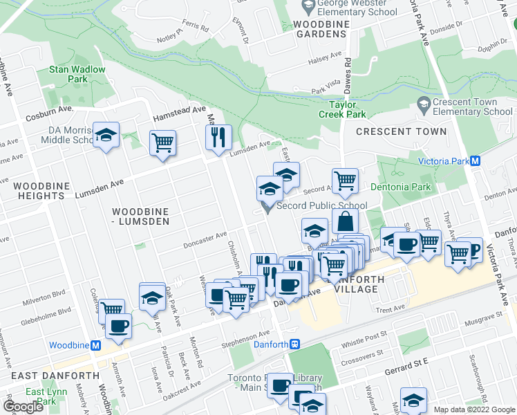 map of restaurants, bars, coffee shops, grocery stores, and more near 118 Barrington Avenue in Toronto
