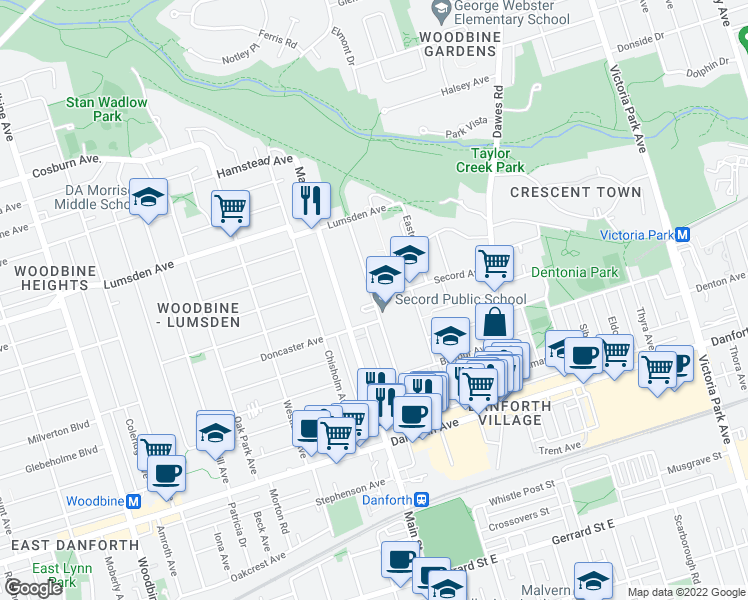 map of restaurants, bars, coffee shops, grocery stores, and more near 127 Barrington Avenue in Toronto
