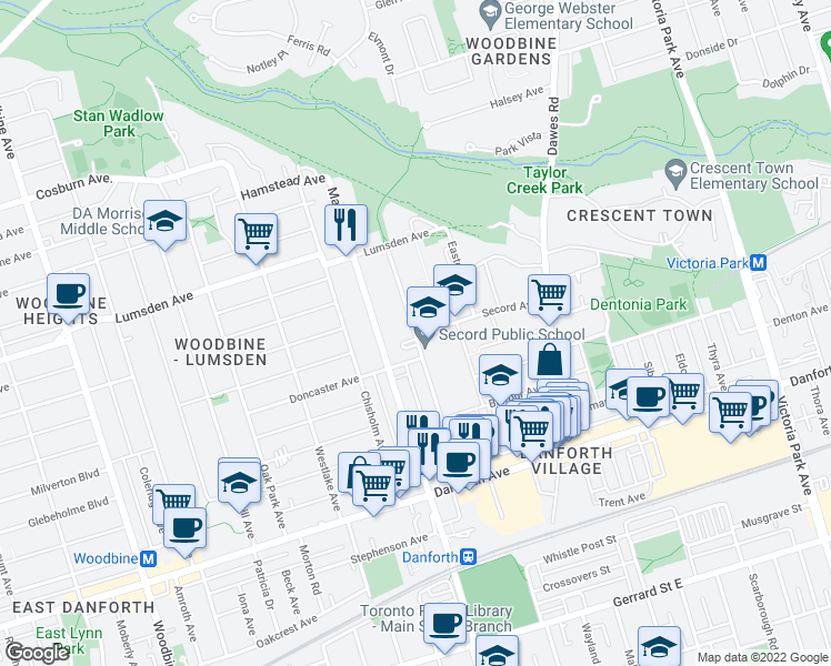 map of restaurants, bars, coffee shops, grocery stores, and more near 141 Barrington Avenue in Toronto