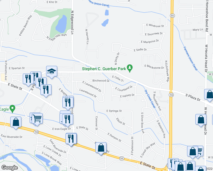 map of restaurants, bars, coffee shops, grocery stores, and more near 177 South Firwood Avenue in Eagle