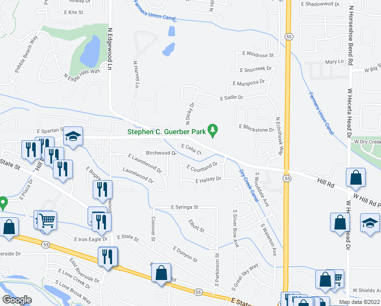 map of restaurants, bars, coffee shops, grocery stores, and more near 2095 East Celia Court in Eagle
