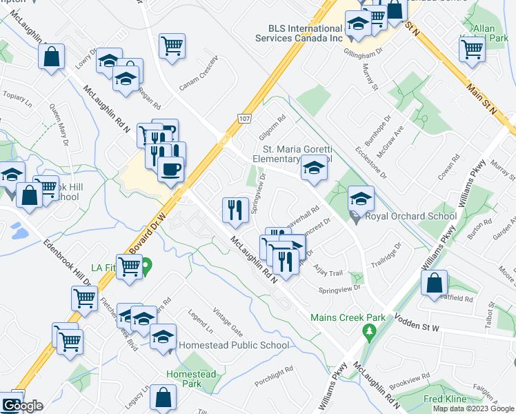 Brampton Canada Map.135 Springview Drive Brampton On Walk Score