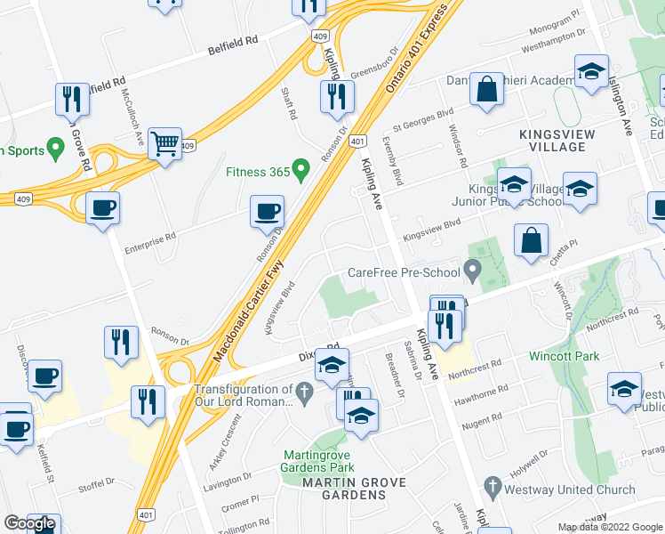 map of restaurants, bars, coffee shops, grocery stores, and more near 1 Camperdown Avenue in Toronto