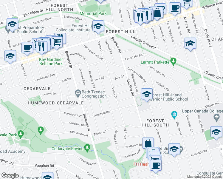 map of restaurants, bars, coffee shops, grocery stores, and more near 306 Vesta Drive in Toronto