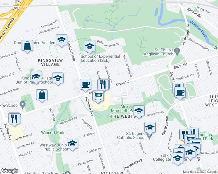 map of restaurants, bars, coffee shops, grocery stores, and more near 212 Dixon Road in Toronto